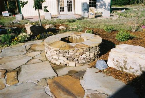 Flagstone patio, drystack firepit w flagstone top
