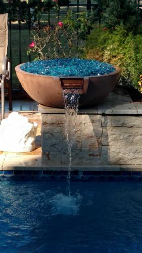 Tan Fire / Water Bowl w/ Fireglass