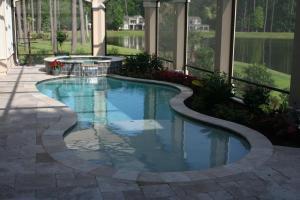 Pool, Spa, Ivory Coping w Walnut Pavers, Sunshelf